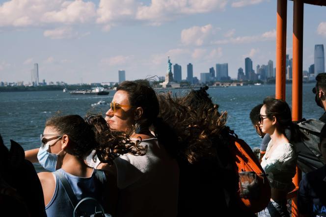 Sur le ferry pour Staten Island, le 30juillet 2021, à New York.